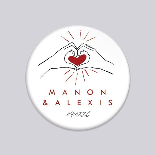 Badge de mariage coeur-rouge à personnaliser