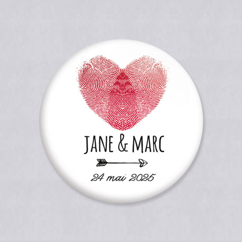 Badge de mariage coeur à personnaliser