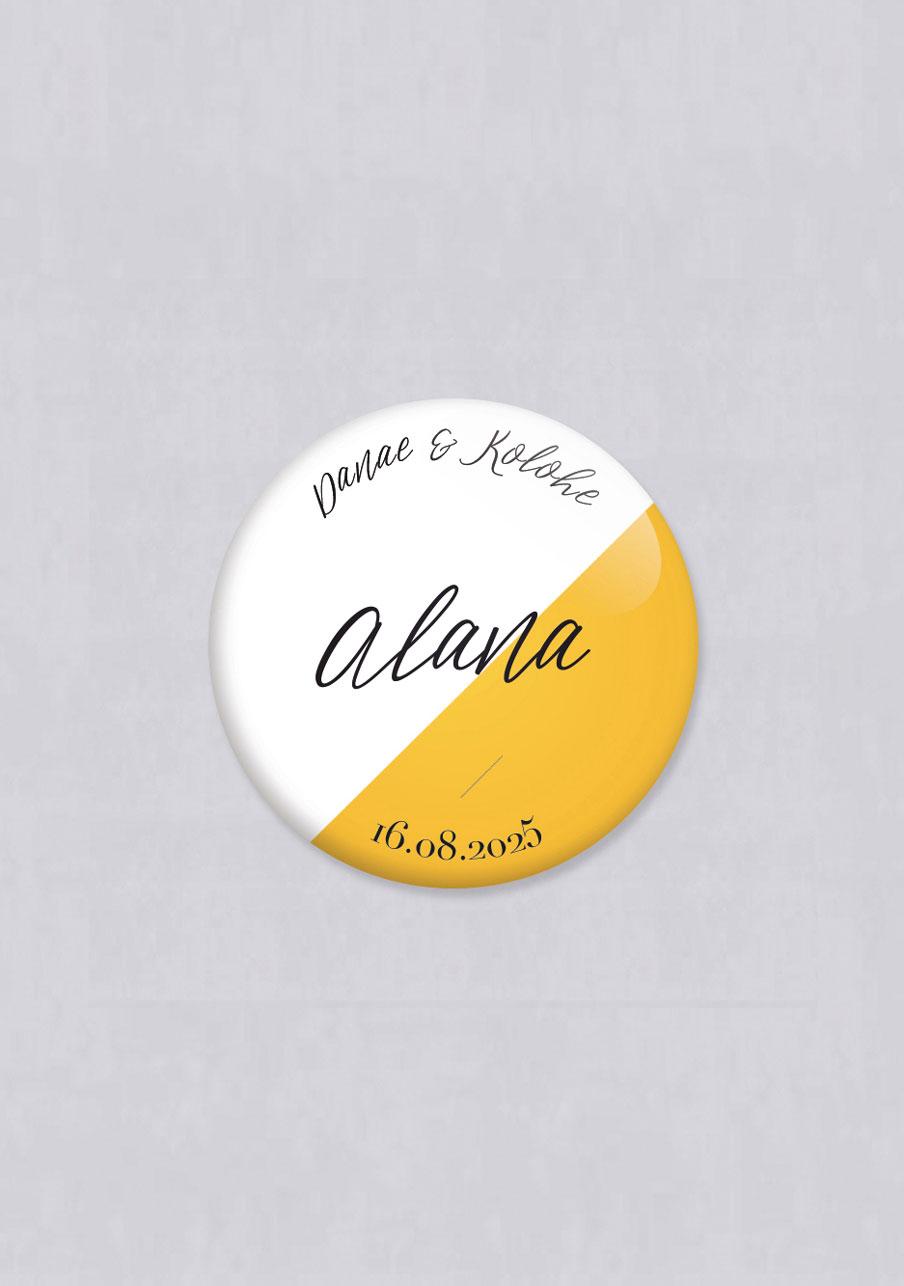 badge mariage personnalisé Color block