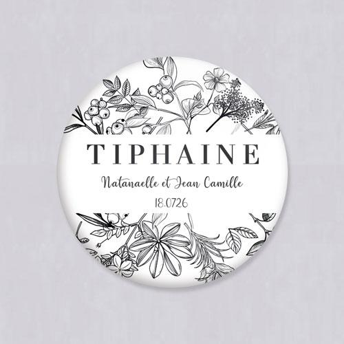Badge de mariage composition-florale à personnaliser