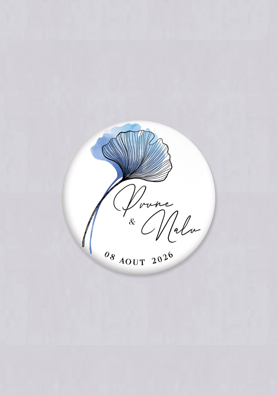 badge mariage personnalisé Coquelicot