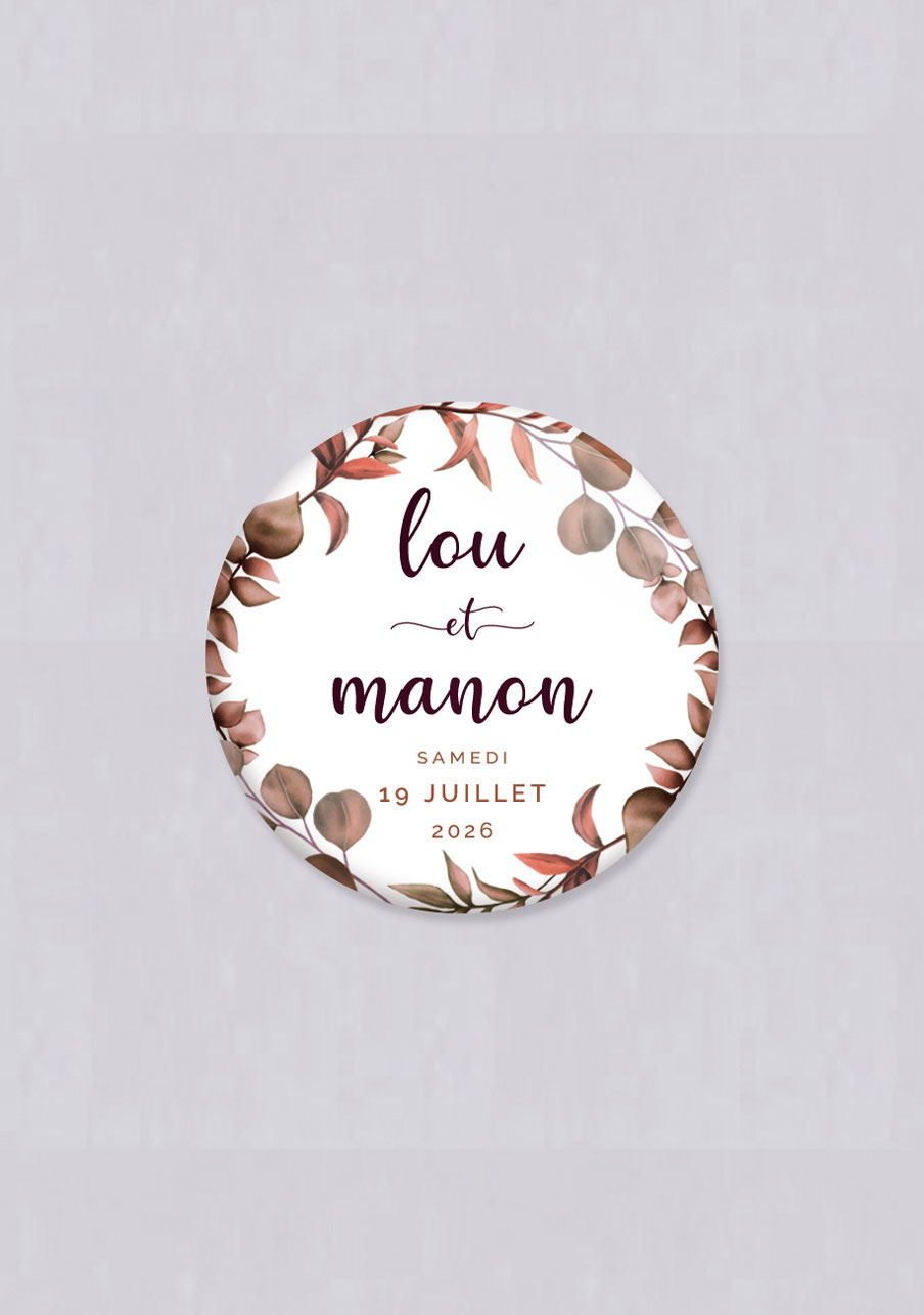 badge mariage personnalisé Couronne automnale