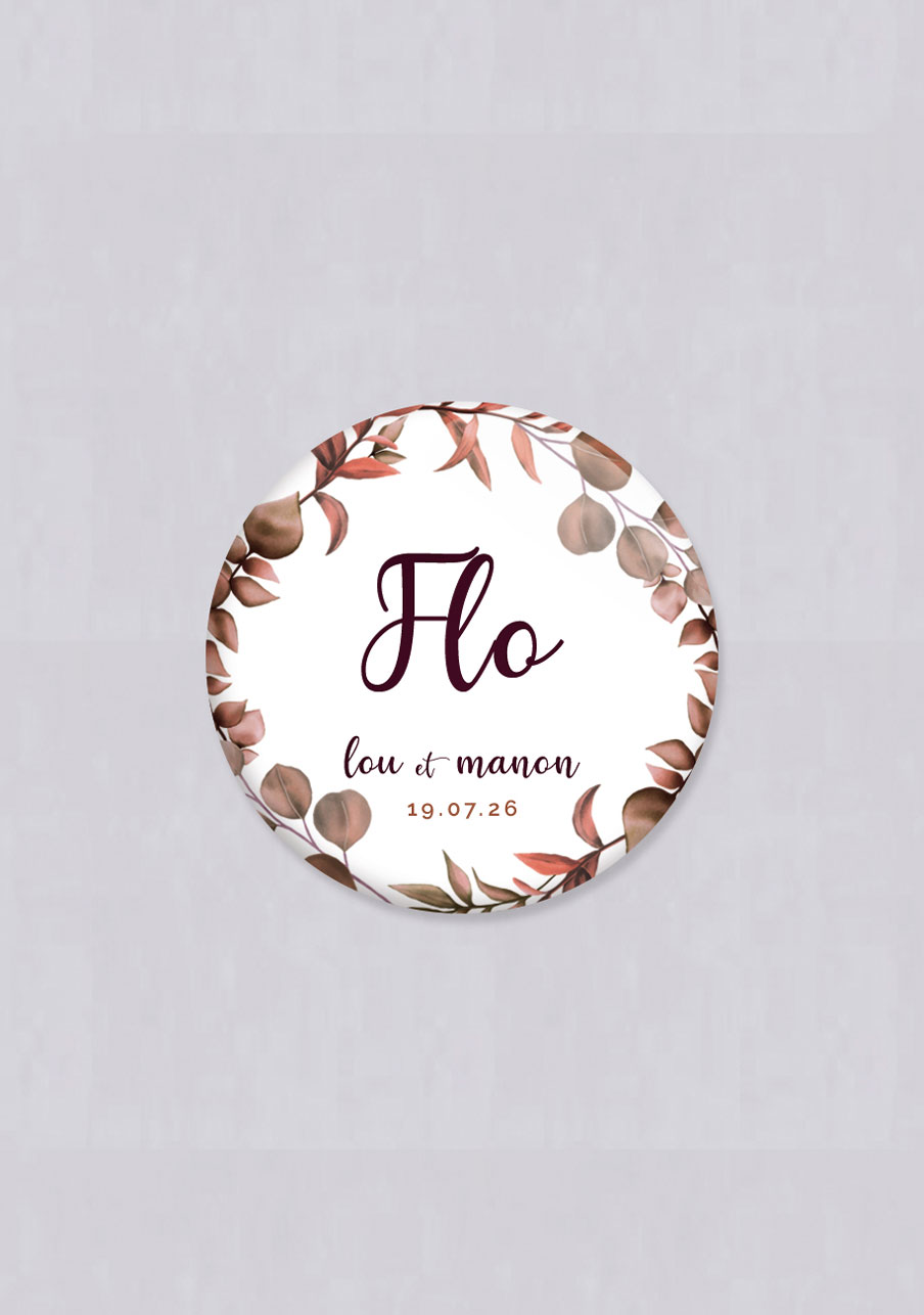 badge mariage Couronne automnale