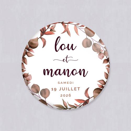 Badge de mariage couronne-automnale à personnaliser