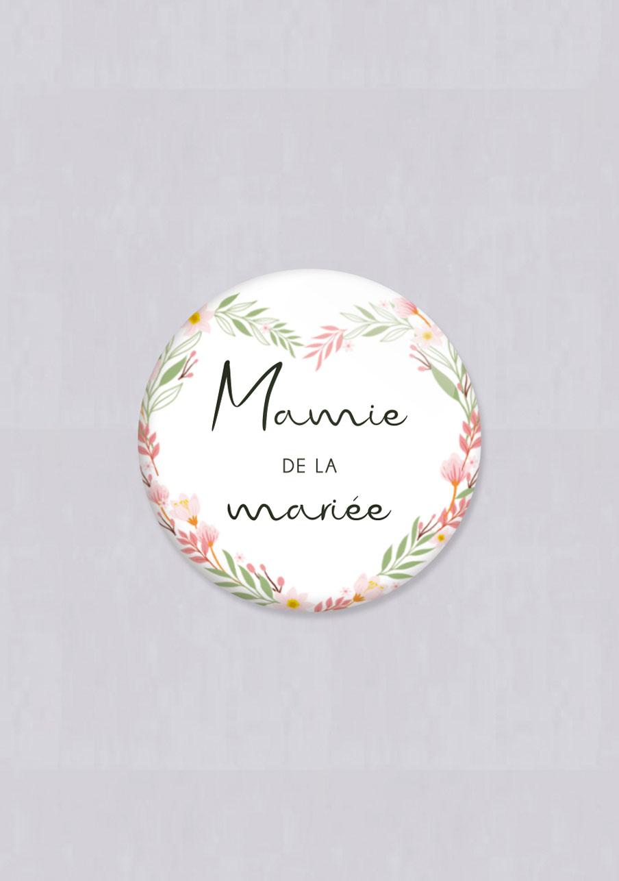 badge mariage Couronne coeur