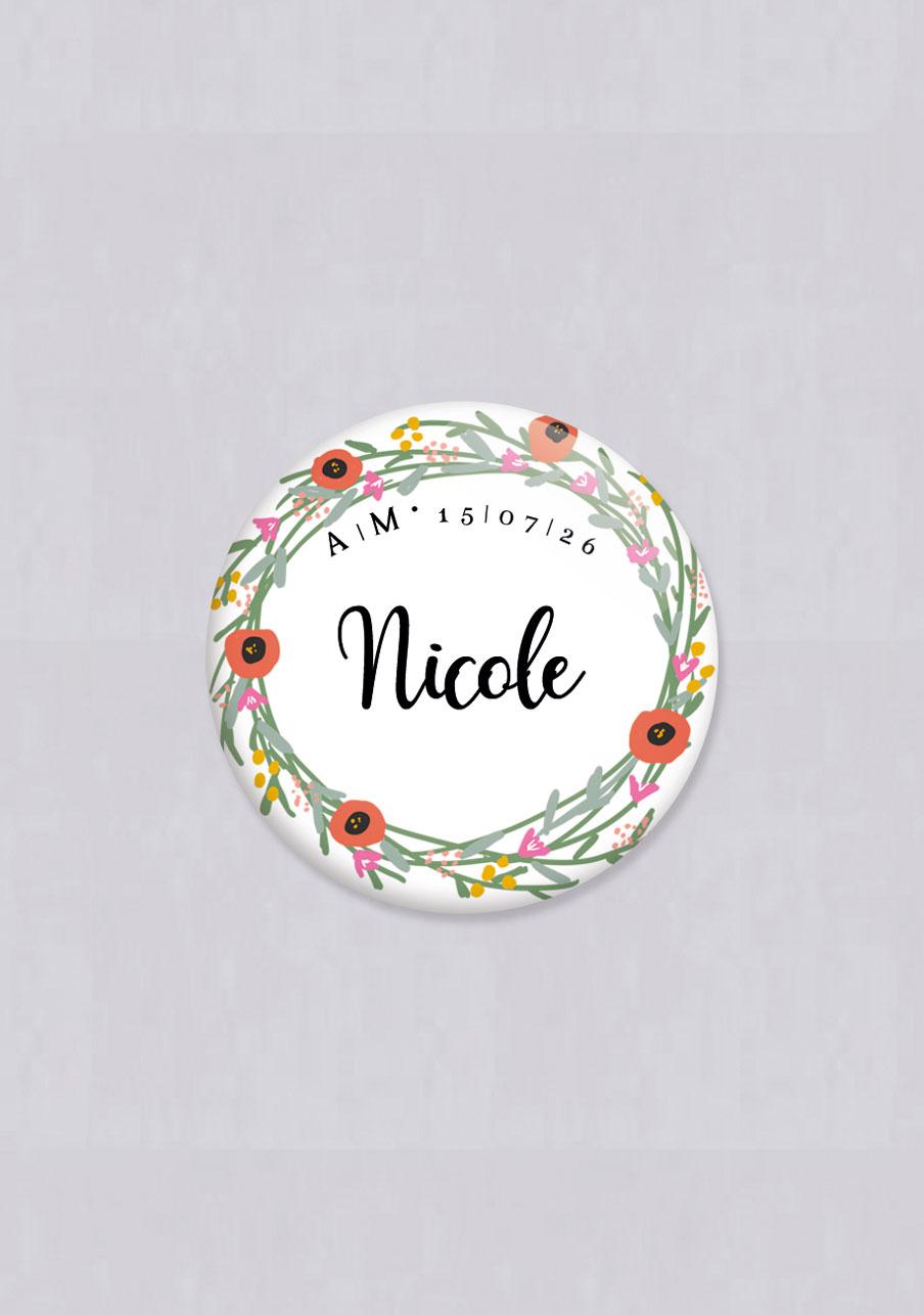 badge mariage Couronne de fleurs
