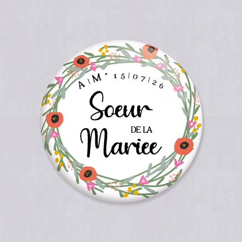Badge de mariage couronne-de-fleurs à personnaliser