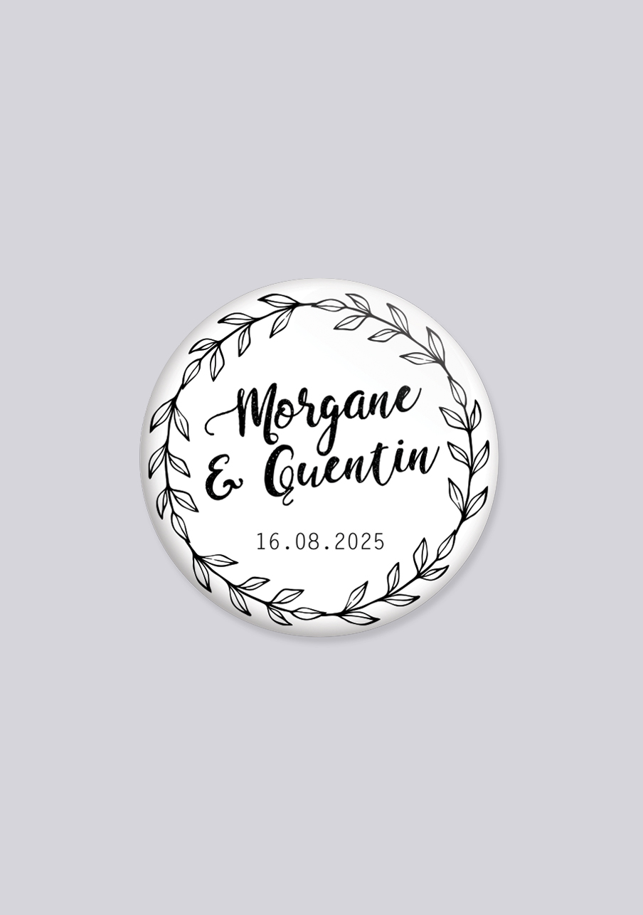badge mariage personnalisé Couronne
