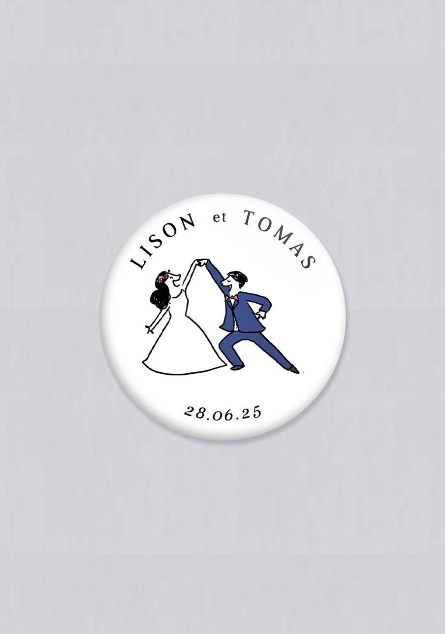 badge mariage personnalisé Danseurs