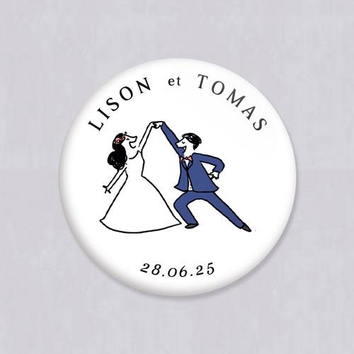 Badge de mariage danseurs à personnaliser