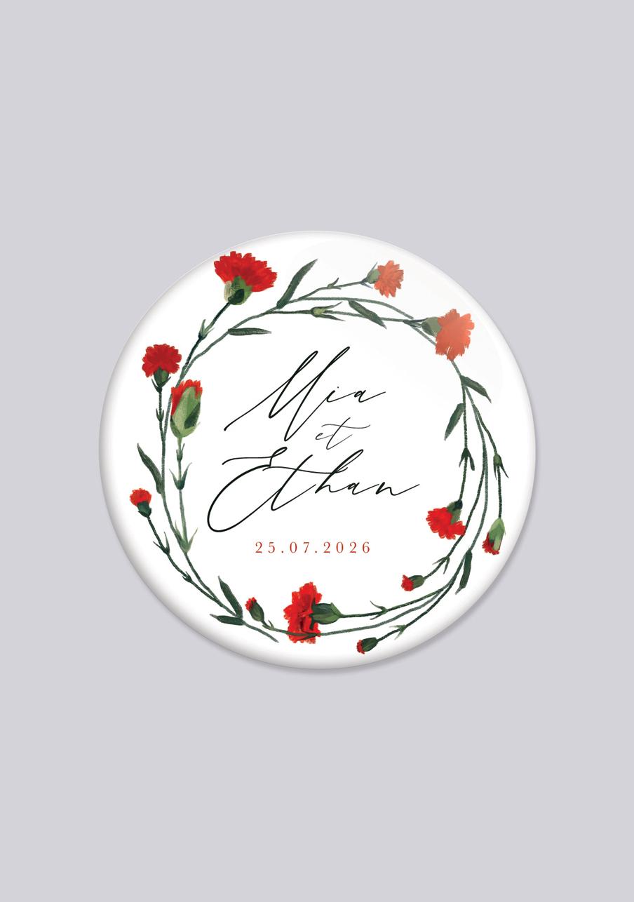 badge mariage personnalisé Dellus