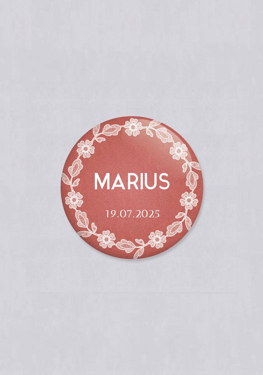 badge mariage personnalisé Dentelle