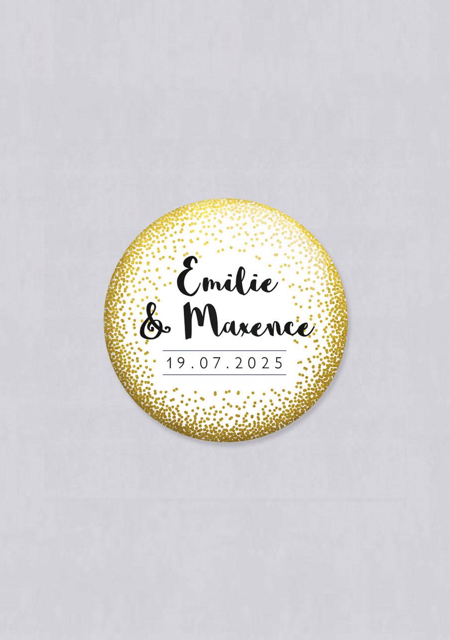 badge mariage personnalisé dore