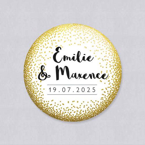 Badge de mariage dore à personnaliser
