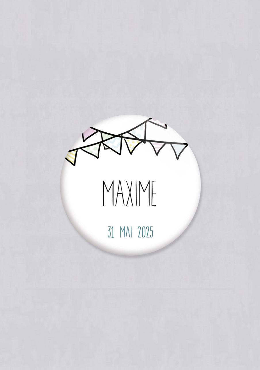 badge mariage personnalisé Fanions