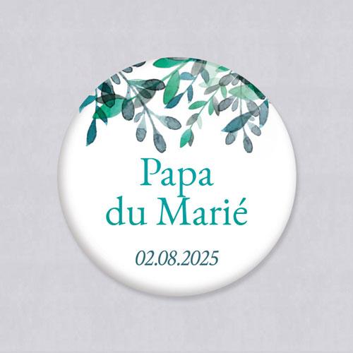 Badge de mariage feuillage-delicat à personnaliser
