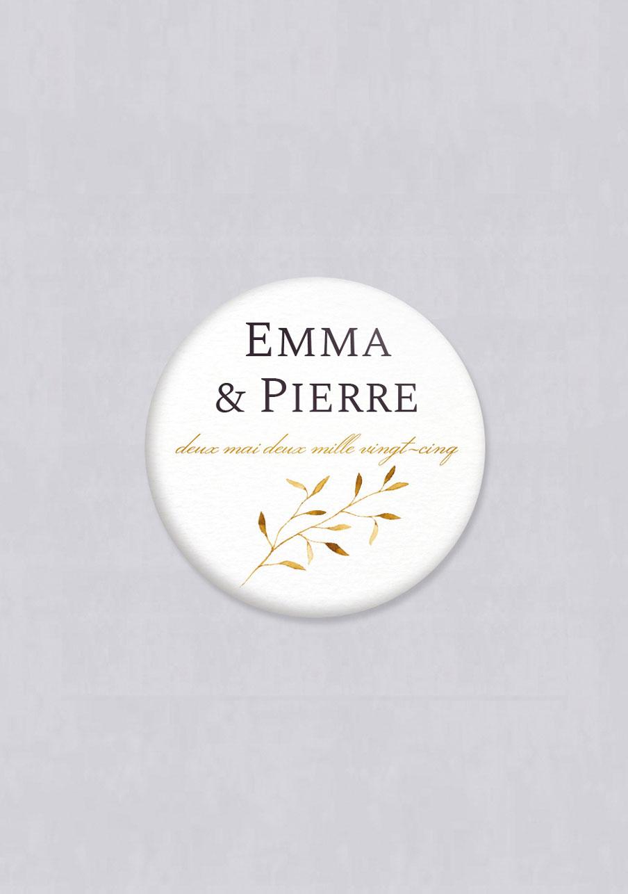 badge mariage personnalisé Feuilles dorées