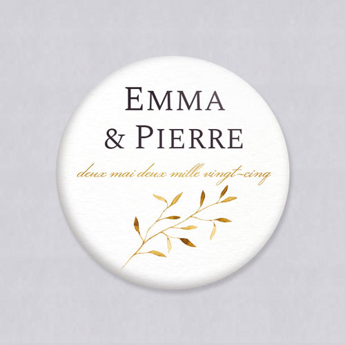 Badge de mariage feuilles-dorees à personnaliser