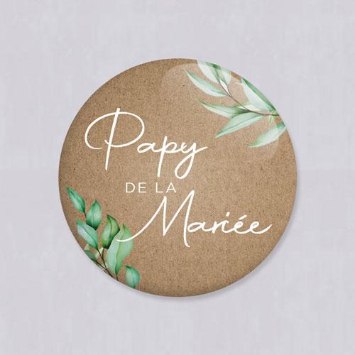 Badge de mariage feuilles-kraft à personnaliser