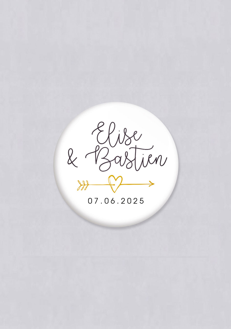 badge mariage personnalisé Flèche