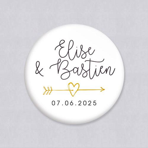 Badge de mariage fleche à personnaliser