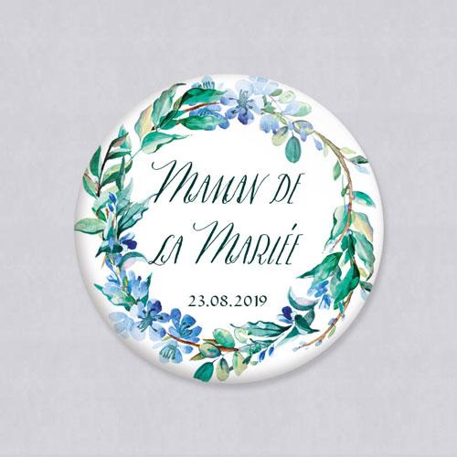 Badge de mariage fleuri-bleu à personnaliser