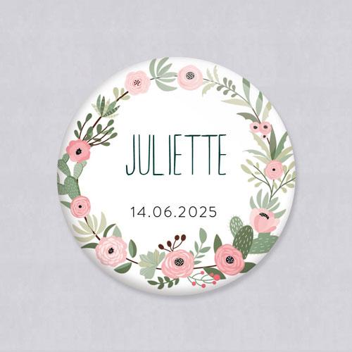 Badge de mariage fleuri-rose à personnaliser