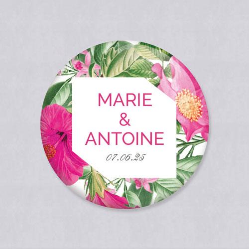 Badge de mariage floral à personnaliser
