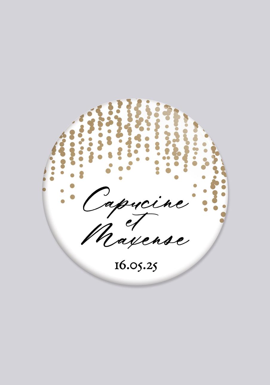badge mariage personnalisé Glitter