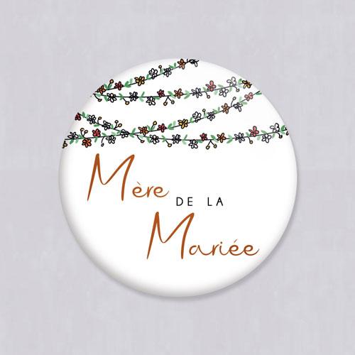 Badge de mariage guirlandes-de-fleurs à personnaliser