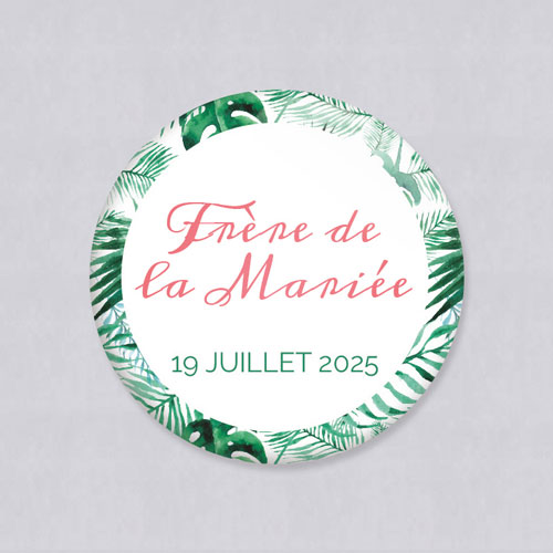 Badge de mariage jungle à personnaliser