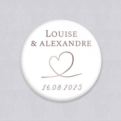 Badge de mariage love à personnaliser