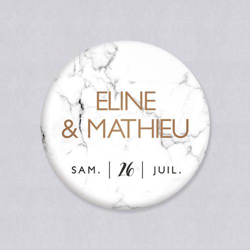 Badge de mariage marbre à personnaliser