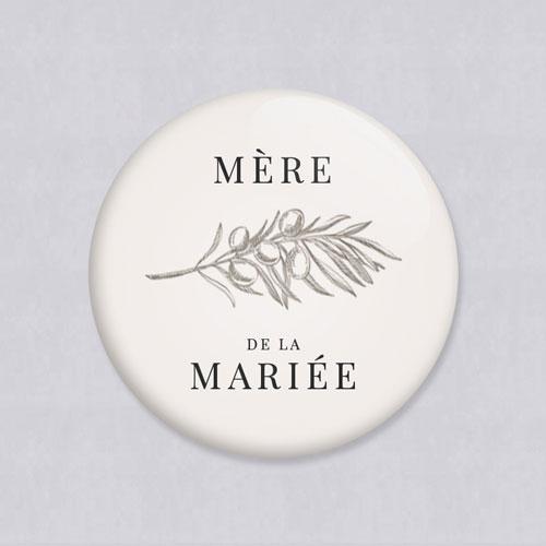 Badge de mariage olivier à personnaliser