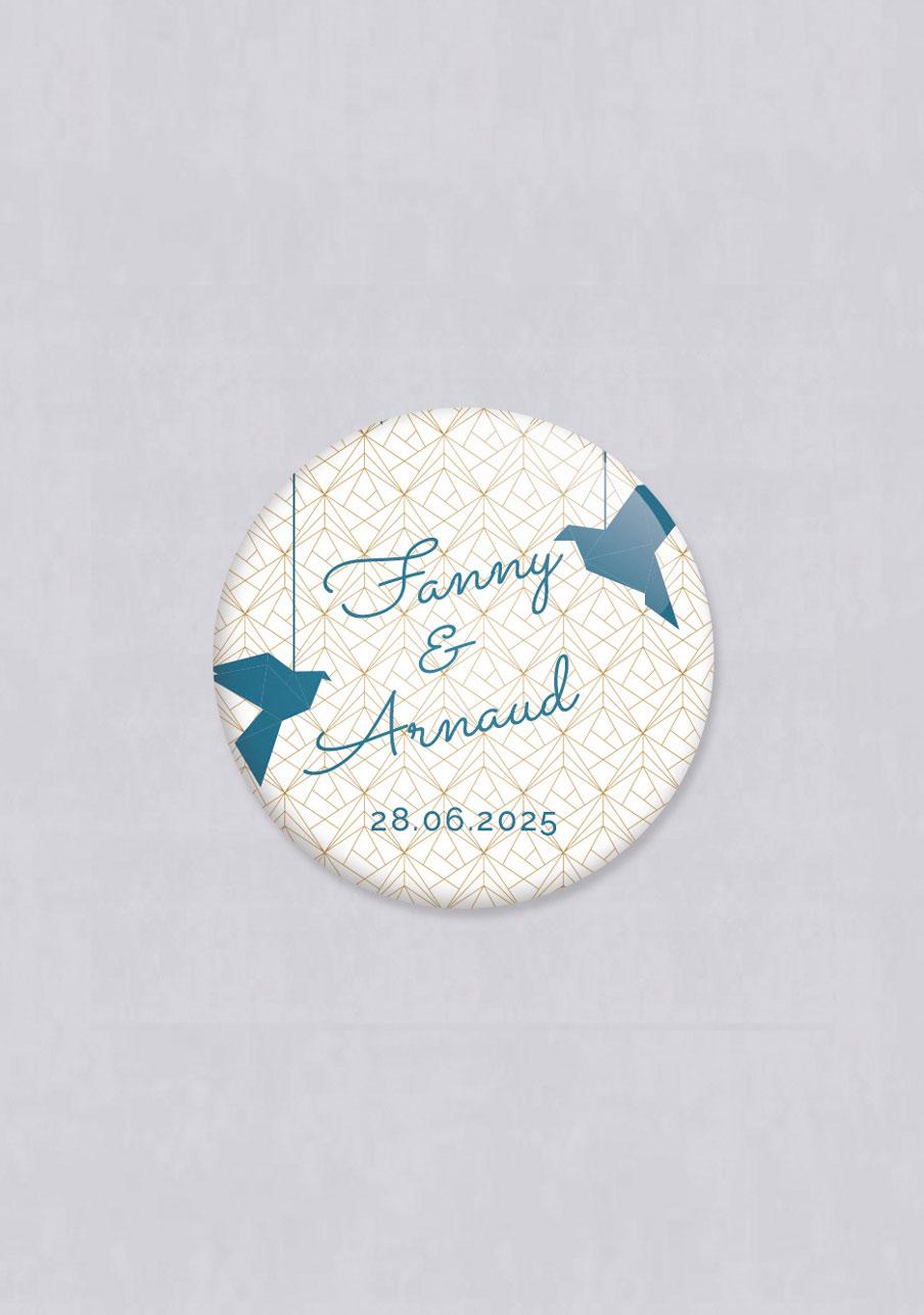 badge mariage personnalisé Origami