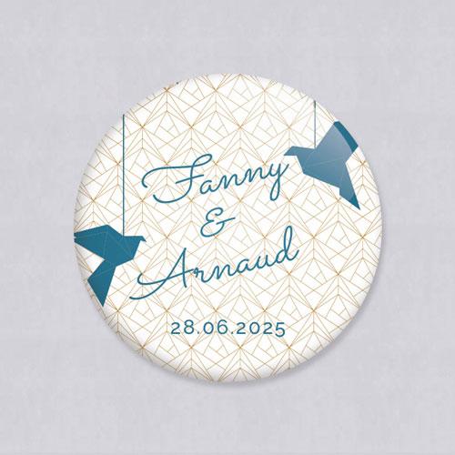 Badge de mariage origami à personnaliser