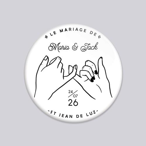 Badge de mariage promesse à personnaliser