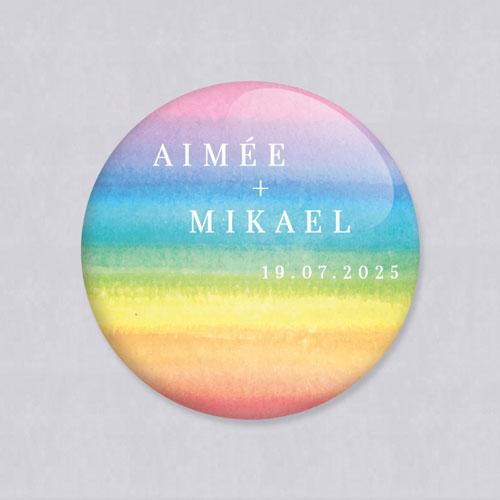 Badge de mariage rainbow à personnaliser