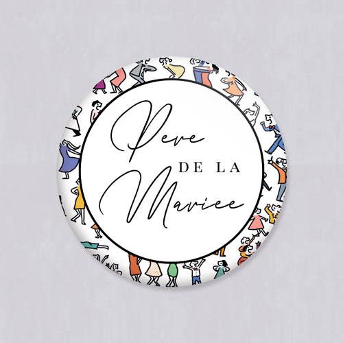 Badge de mariage scene-danseurs à personnaliser
