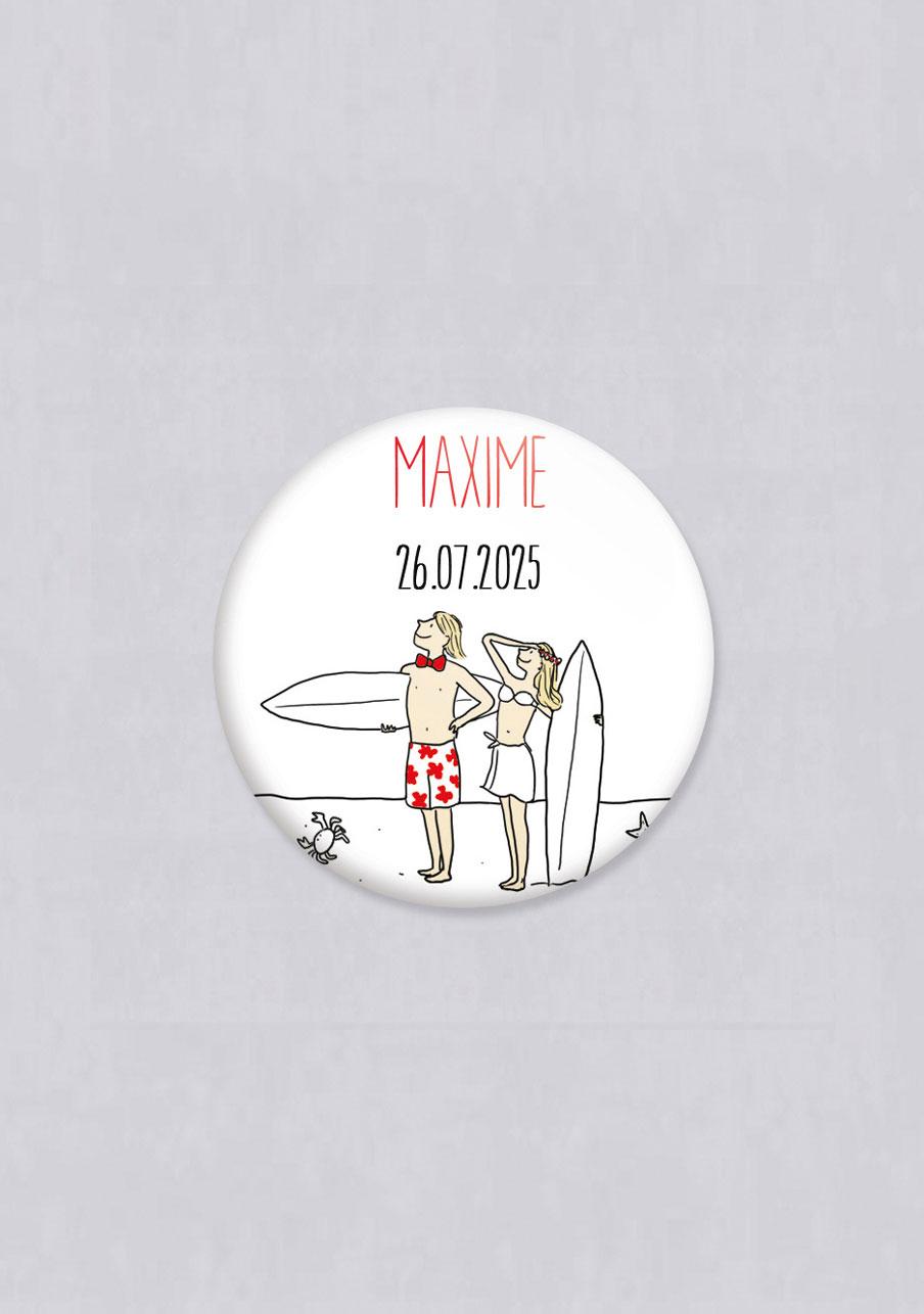 badge mariage personnalisé Surf