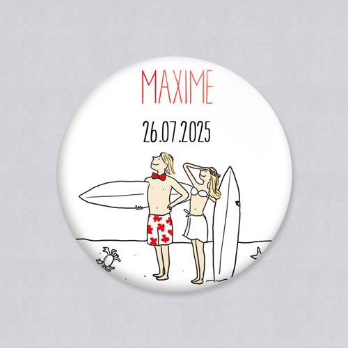 Badge de mariage surf à personnaliser
