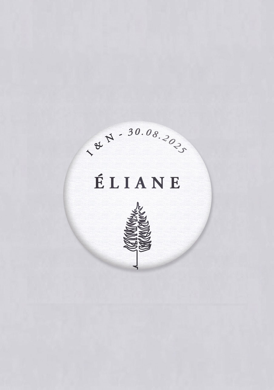 badge mariage personnalisé Tall tree
