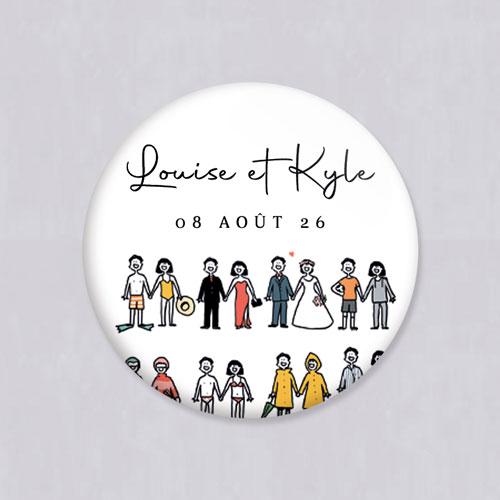 Badge de mariage tenues à personnaliser