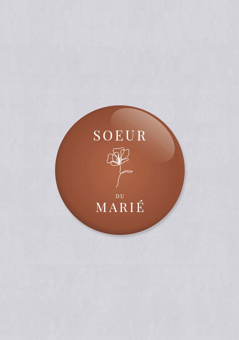 badge mariage personnalisé Terracotta