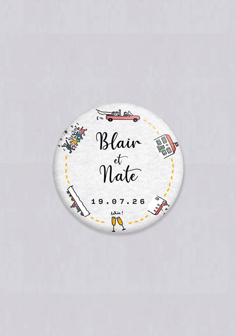 badge mariage personnalisé Timeline