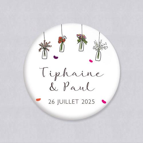 Badge de mariage vases-suspendus à personnaliser