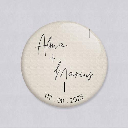 Badge de mariage warp à personnaliser