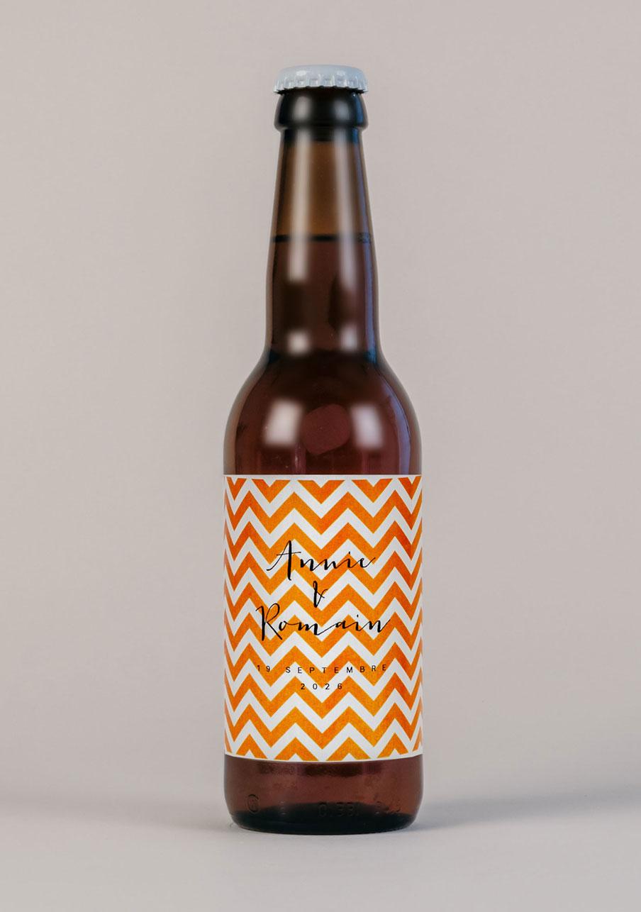 biere mariage personnalisé Chevrons - orange