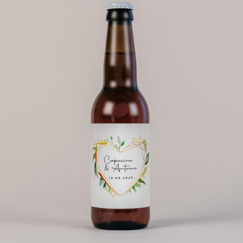 Bière de mariage coeur-geometrique à personnaliser