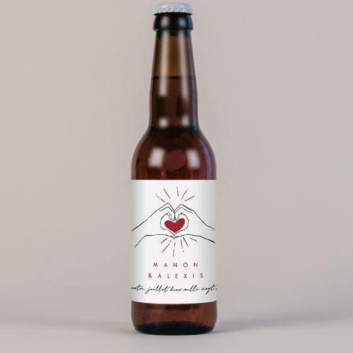 Bière de mariage coeur-rouge à personnaliser